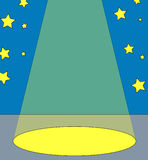 In the spotlight. Spot light on center stage with stars in the background - vector vector illustration