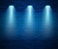 Free Spotlight Against Brick Wall In Blue Color. Empty Studio Decorated Brick Wall And Spot Of Light. Vector Illustration Royalty Free Stock Images - 159253459