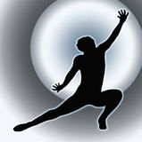 Spotlight Back Dancing Lady Kneeling Spread Leg Stock Photo