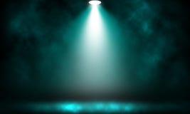 Spotlight blue effect on smoke stage. Spotlight blue effect on smoke stage background Stock Photography