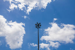 Spotlight on blue sky. And cloud Royalty Free Stock Photography