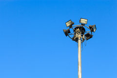 Spotlight and blue sky in daytime in Thailand Royalty Free Stock Photo