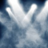 Spotlight  blue on smog background Royalty Free Stock Photo