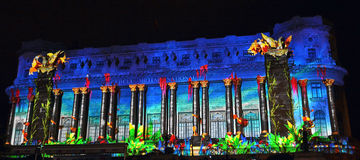 Spotlight Bucharest international light festival Royalty Free Stock Photos