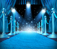 In The Spotlight. And center of attention or limelight with blue glowing lights on stage as a concept for entertainment with roped barriers and cyan glowing royalty free illustration