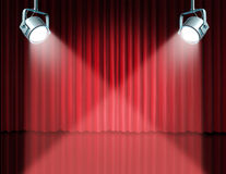 In the spotlight featuring concept. For the theater stage with glowing lights on red velvet cinema curtain and drapes representing the entertainment Royalty Free Stock Photography