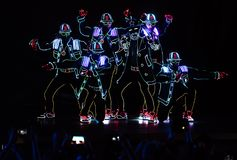 Bucharest Spotlight Festival dancing crew with lights Stock Image
