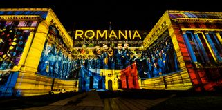 Spotlight Festival transforms the Capital of the city into an open air light art exhibition. stock image
