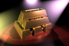 Spotlight on Gold Bars Stock Photo