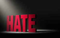 A Spotlight On Hate. Angled spotlight revealing a large, red HATE on a dark background Stock Photography