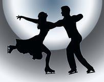 Spotlight Ice Skater Couple Embrace Back Kick. Spotlight Back Silhouette of Ice Skater Couple in Embrace Back Kick Royalty Free Stock Image