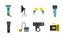 Spotlight icon set, flat style. Spotlight icon set. Flat set of spotlight vector icons for web design isolated on white background Stock Photos