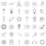 Spotlight icons set, outline style. Spotlight icons set. Outline style of 36 spotlight vector icons for web isolated on white background Royalty Free Stock Photo