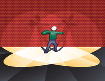 Spotlight metaphor / concept. Spotlight metaphor: person caught in a double beam spotlight (indecisive...stage fright...celebrity...fear...etc.)  Illustration Stock Photo
