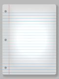 Spotlight Notebook Paper Background. Page of wide ruled notebook paper on solid gray background - drop shadow & spotlight highlight. Easily tilt or otherwise stock illustration