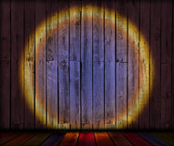 Spotlight on Old Wooden Planks Stock Image