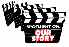 Spotlight on Our Story Background Movie Film Clapper Boards. 3d Illustration Royalty Free Stock Photos