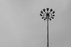 Spotlight pole. A part of top  multi spotlight pole with black and white tone Royalty Free Stock Photos