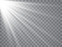 Spotlight rays with beams on transparent background. Flash light Vector. Illustration stock illustration