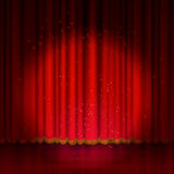 Spotlight on red stage curtain. Vector illustration Royalty Free Stock Photography