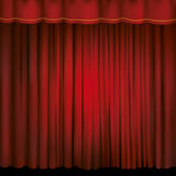 Spotlight on a red stage curtain. Vector illustration Royalty Free Stock Photography