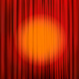 Spotlight on a red stage curtain. Vector illustration Stock Photos