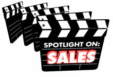 Spotlight on Sales Movie Clapper Boards Revenue Royalty Free Stock Image