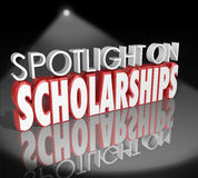Spotlight on Scholarships Words Tuition Payment College Degree. Spotlight on Scholarships words in 3d letters to illustrate how to apply for and win tuition Stock Photography