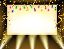 Spotlight Shining On Billboard with Gold confetti and colorful bulbs Stock Photo