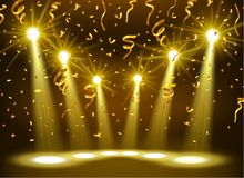 Spotlight Shining On Empty stage with Gold confetti Stock Photography