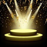 Spotlight Shining On Empty stage with Gold confetti Royalty Free Stock Photo