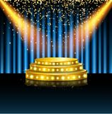 Spotlight of shining on stage background. Illustration of Spotlight of shining on stage background Royalty Free Stock Image