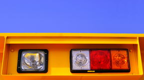 Spotlight and signal light. On engineering machinery and special special-purpose automobile's illumination spotlight and signal light Royalty Free Stock Image