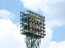 Spotlight on a sport stadium. Royalty Free Stock Image