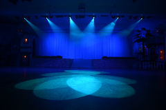 In the spotlight. Spotlights converge on an area in front of the stage Royalty Free Stock Photos