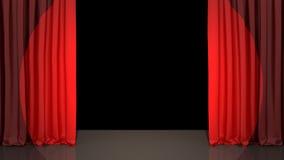 Spotlight on stage curtain. Black Stock Image