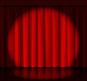 Spotlight on stage curtain. Event and show, fabric and entertainment. Vector illustration Stock Photography