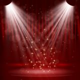 Spotlight on stage curtain with stars. Royalty Free Stock Photos