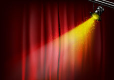 Spotlight on stage curtains Stock Photos