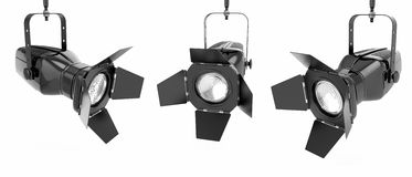 Spotlight or stage light. On white isolated background. 3d Stock Image