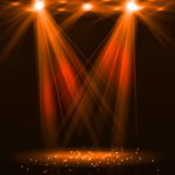 Spotlight on stage with smoke and light. Vector illustration Royalty Free Stock Images