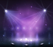Spotlight on stage with smoke and light. Vector illustration Royalty Free Stock Photography
