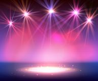 Spotlight on stage with smoke and light. Royalty Free Stock Image
