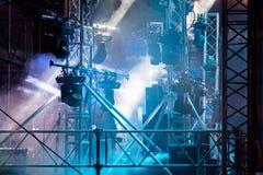 Spotlight system illuminating dark stage during performance. equ Royalty Free Stock Photography