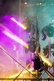 Spotlight system mounted on stage. concert lightning effect in d Royalty Free Stock Photography
