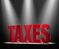 Spotlight On Taxes. Shiny red TAXES on a dark background brilliantly backlit by three spotlights Royalty Free Stock Images