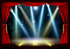 Spotlight theatre stage. A spotlight theatre stage with coloured spotlights and red stage curtain drapes Stock Photos