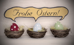 Spotlight To Three Colorful Easter Eggs With Comic Speech Balloon Frohe Ostern Means Happy Easter Stock Image