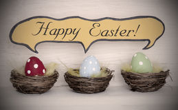 Spotlight To Three Colorful Easter Eggs With Comic Speech Balloon Happy Easter Royalty Free Stock Photo