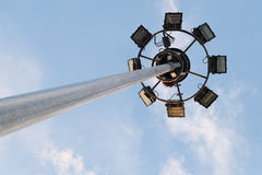 Spotlight tower with blue sky Royalty Free Stock Image